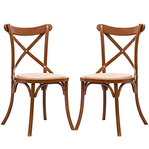 Thaweesuk Shop Set of 2 Cross Back Dining Side Chair Solid Wood Rattan Seat Modern Farmhouse 18.9