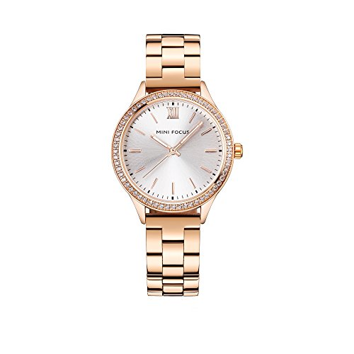 Gorgeous Pink Rhinestone Watch (Gorgeous Women's Watches Luxury Rose Gold Stainless Steel Band Watch,Shining Rhinestone Rome Numerals)