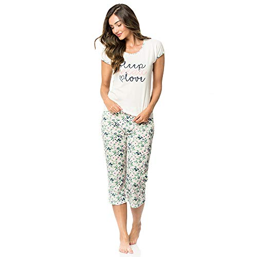 Flower Capri Set - Provocame Women Sexy Pajama Sleepwear Short Sleeve and Long Pants Set (Capri Flowers-Small)