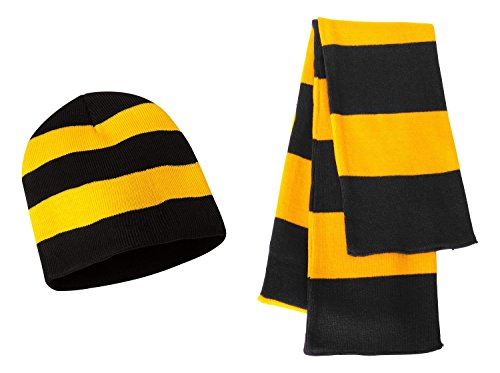 Gold Knit Beanie (Sportsman Knit Collegiate Rugby Stripe Winter Scarf & Beanie Hat Set - Assorted Colors, Black/Gold)