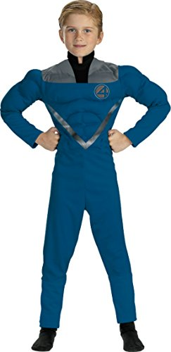 The Fantastic 4 Costumes (Boys Mr Fantastic Muscle Kids Child Fancy Dress Party Halloween Costume, S (4-6))