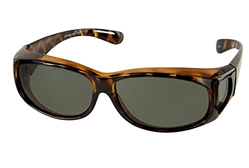 LensCovers Sunglasses Wear Over Prescription Glasses Extra Small Tortoise Brown - Polarization Sunglasses