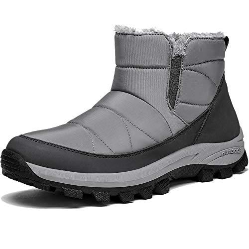 CAMEL Womens Winter Snow Boots Slip On Ankle Bootie Anti-Slip Fur Lined Short Boots Waterproof Outdoor Footwear Grey