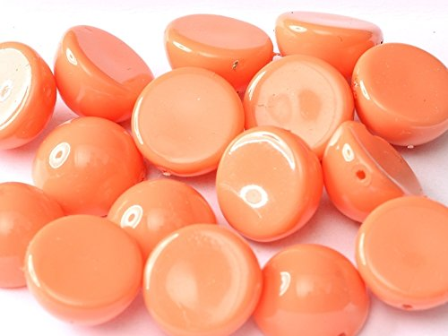 6pcs Dome Bead 12x7 mm Czech Pressed Glass, Peach Coral (48955) ()