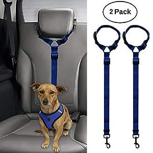 BWOGUE 2 Packs Dog Cat Safety Seat Belt Strap Car Headrest Restraint Adjustable Nylon Fabric Dog Restraints Vehicle Seatbelts Harness 6
