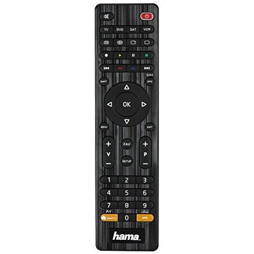 Hama Universal Fernbedienung 4-in-1 (lernfähig, bis zu vier Geräte, vorprogrammiert für über 1000 Marken, TV/DVD/STB/VCR) IR Multifunktionsfernbedienung Ersatzfernbedienung schwarz
