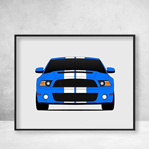 Shelby GT500 S197 Ford Mustang Cobra (2010-2012) Poster Print Wall Art Decor Handmade Carroll Shelby ()