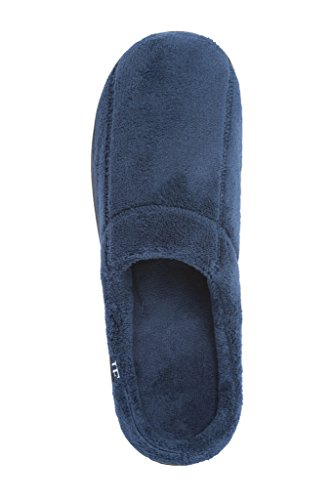 J. Fiallo Mens Stitched Terry, Comfortable Indoor Clog Slippers Sapphire Blue