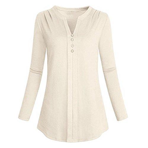 Orangeskycn Women's Long Sleeve Loose Tops V Neck Shirt Pleat Casual Blouse (Beige, M)