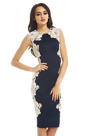 Amazon.com: AX Paris Crochet Lace Side Midi Dress: Clothing