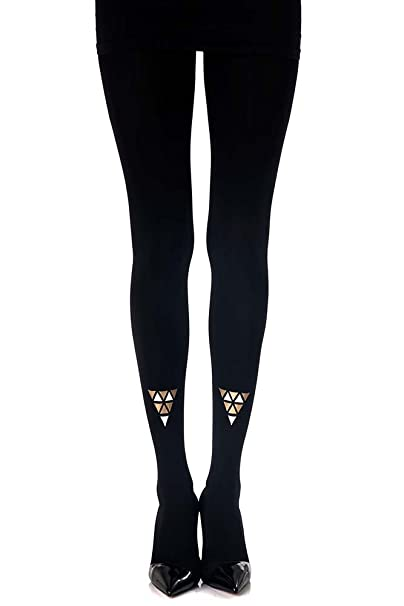 Womenscleopatra Triangles Printed Tights Black Opaque By Zohara
