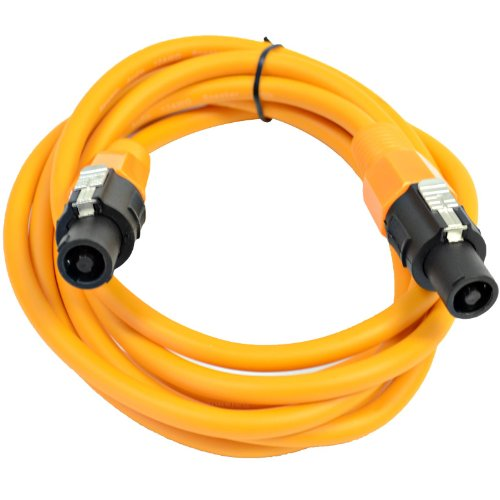 Seismic Audio - TW12S10Orange - 12 Gauge 10 Foot Orange Speakon to Speakon Professional Speaker Cable - 12AWG 2 Conductor Speaker Cable by Seismic Audio