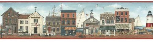 (Harbor Town Lighthouse Boats Ships Wallpaper Border - Red Edge by)