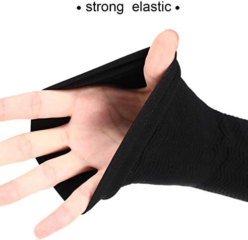 4 Pairs Slimming Arm Sleeves Arm Elastic Compression Arm Shapers Sport Fitness Arm Shapers for Women Girls Weight Loss (Black and Nude Color) 3