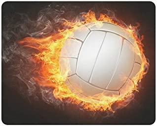 Amazon Com Interestprint Cool Fire Flame Volleyball Ball Rectangle Non Slip Rubber Laptop Mousepad Mouse Pads Mats Case Cover With Designs Office Products
