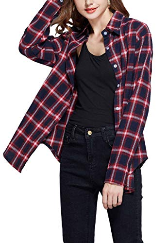 GUANYY Women's Long Sleeve Casual Loose Classic Plaid Button Down Shirt(Classic Blue,XX-Large)