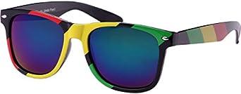Chic-Net sunglasses red yellow green Rasta Stripes Nerdbrille mirror 400 UV Wayfarer