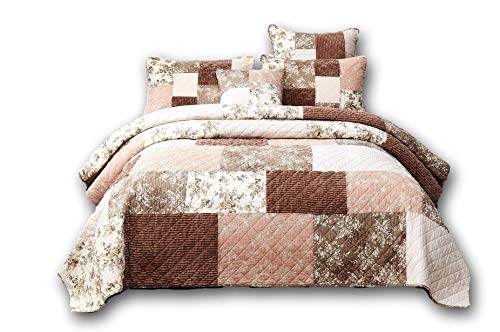 DaDa Bedding Bohemian Patchwork Bedspread - Dusty Tea Rose Mauve Pink & Chocolate Brown Floral - Soft Quilted Coverlet Set - Cal King -3-Pieces (Brown Patchwork Quilt)