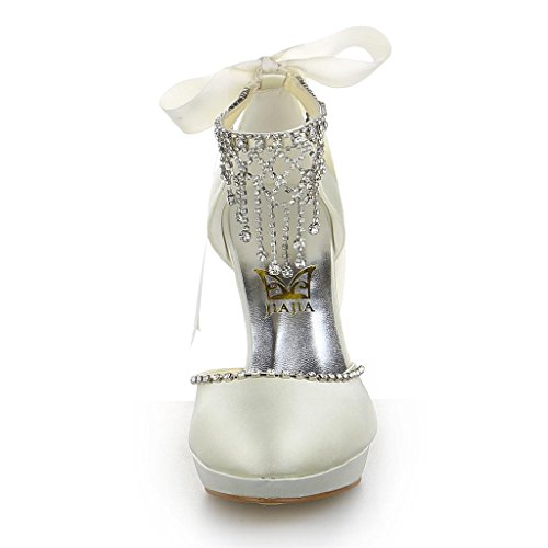 3703 JIA Beige Wedding novia nbsp;boda JIA Guantes Pumps JIAJIA Mujer TfwqpFn