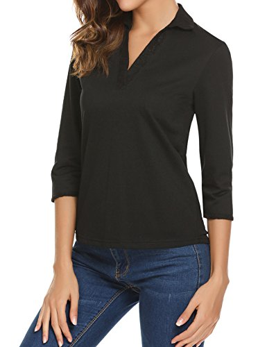 Elbow Sleeve Blouse (Unibelle Women's V Neck Elbow Sleeve Collared Polo Shirt,Black,X-Large)