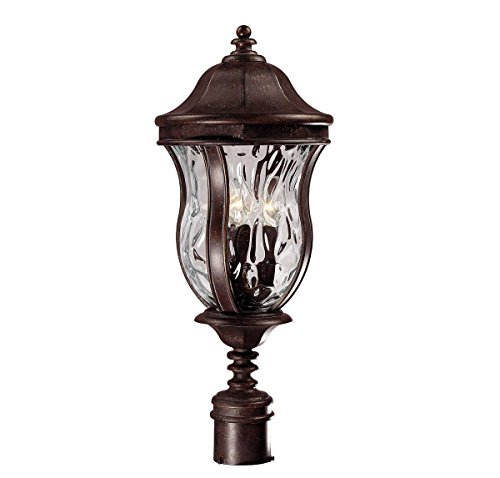 - Savoy House Lighting KP-5-301-40 Monticello Collection 3-Light Outdoor Post Mount Lantern, Walnut Patina Finish with Clear Watered Glass