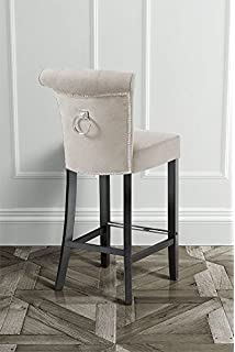 MY Furniture High Quality Upholstered Buttoned Barstool With Back Ring    POSITANO Cream