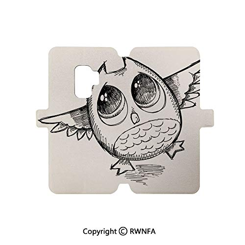 Premium PU Leather Magnetic Flip Folio Protective Sleeve for Galaxy S9,Simple Mini Drawings of Holiday Related Concepts Caravan Compass Lifebuoy Breakfast Decorative,Multicolor