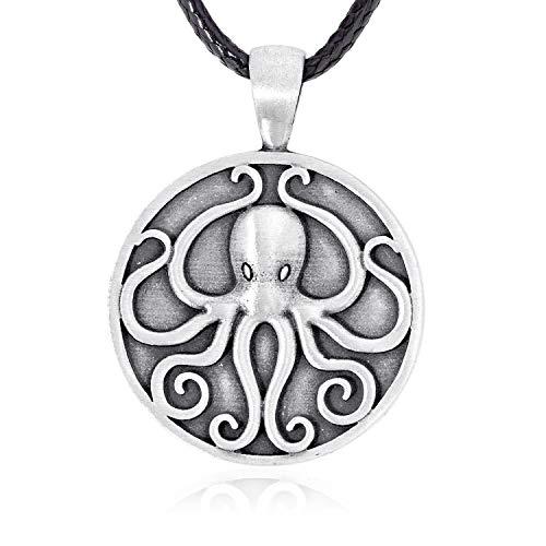 Namaste Jewelers Mythos Cosmic Cthulhu Octopus Pendant Necklace Pewter Jewelry