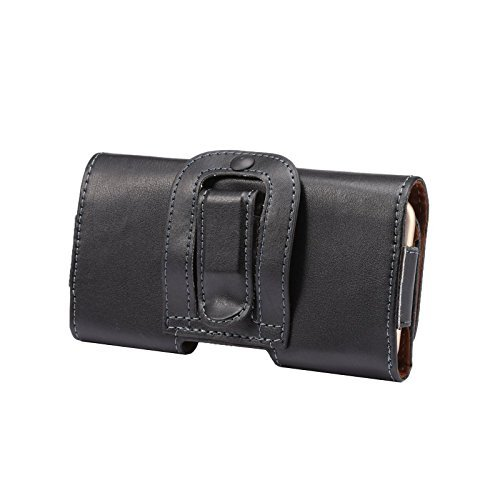 Horizontal Flap Case (iPhone SE Holster, iPhone 5s Belt Clip Case, Keklle Premium Genuine Leather Carrying Pouch Case with Belt Clip Belt Loops and Magnetic Flap Closure for Apple iPhone 5/5s/5se/5c - Horizontal/Black)