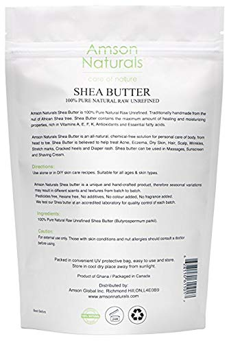 SHEA BUTTER-100% Pure Unrefined Raw Organic-1 Pound/16 0z-by Amson  Naturals-from the nut of the African Shea(Karite/ghariti)Tree-Original  Handcrafted