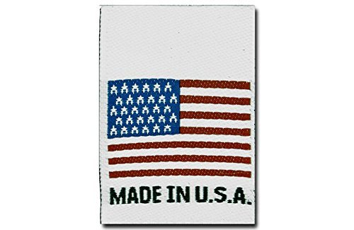 (100 Made in U.S.A. American Flag, Woven Clothing Labels, 1