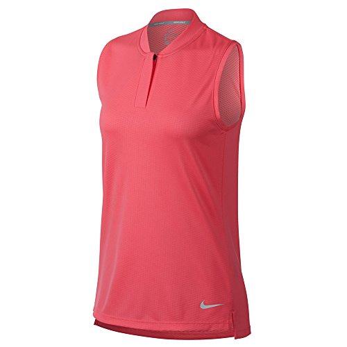 NIKE Dri Fit Sleeveless Blade Collar Golf Polo 2018 Women Sunset Pulse/Flat Silver Large ()