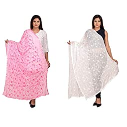 Kalpit Creations Women's Nazmin Dupatta with same colour lace border and same color embroidery work