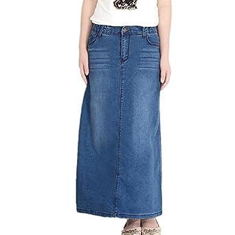 Friendshop Women Long Denim Jean Skirt at Amazon Women's Clothing ...