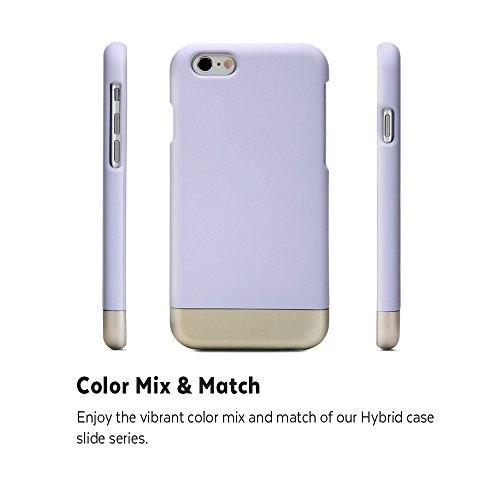 iPhone 6s Coque, GMYLE Hybrid Case Slide pour iPhone 6s - Lavender & Metallic Champagne Gold Hybrid TPU protection rigide Shell Retour Étui
