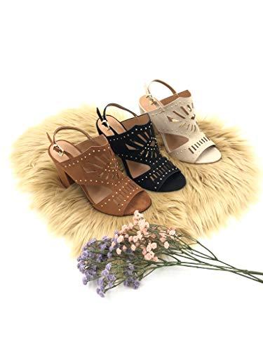 Zapatillas Mujer Perforado Ancho Escarpín Alto Cm 11 Altos Tacón Sandalias Moda Abierto Ceremonia Negro Angkorly Tachonado Matrimonio Tacones wBqdAvwx