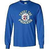 "LONG SLEEVE Blue Philadelphia Embiid ""Trust the Process"" T-Shirt"
