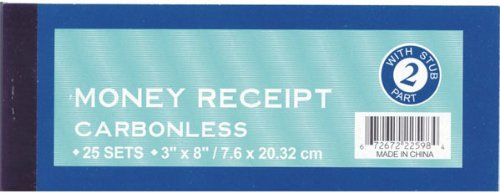 DDI - Money Receipt Form - 3'' x 8'' - 25 sets (1 pack of 72 items)