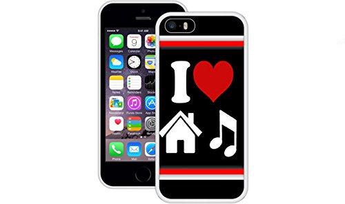 Ich liebe House-Musik | Handgefertigt | iPhone 5 5s SE | Weiß TPU Hülle