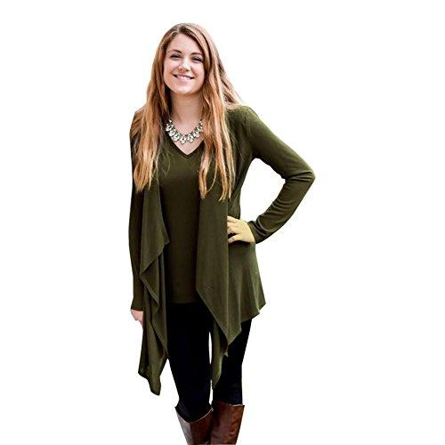 Las mujeres de moda largo manga de chaqueta de punto en los murciélagos army green