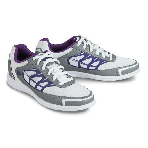Yellow Bowling Shoe (Brunswick Eclipse Women's Bowling Shoes, White/Silver/Purple, 9)