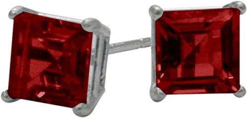 1.50Ct. Created 5mm Square Princess Cut Ruby 14 Karat White Gold Stud Earrings ()