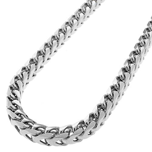 Link Square Necklace - Mens 925 Sterling Silver 5.5MM Franco Chain Necklace, Square Box Link Rhodium Franco Necklace,925 Franco Chain for Men, Open Box Link Chain