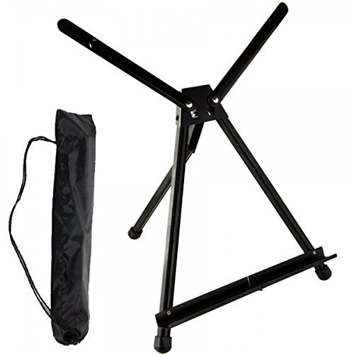 SoHo Urban Artist Table Top Easel - Lightweight Table Top Studio Artist Easel for Travel & Display No Assembly with Carrying Case - Black Anodized Aluminum