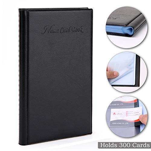 Business Card Holder Organizer Book - PU Leather, Holds 300 Business Cards, Black