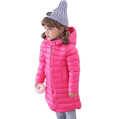 Long Plain Kids Outwear EkarLam® Chic Zip Down Coat Hooded Children Jacket Rosy q5t0qcwI