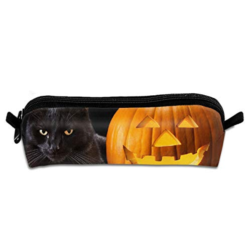 (Happy Halloween Cat Pencil Case Canvas Pencil Holder for Kids Makeup Bags Pencil Bags with Zipper,Back to)