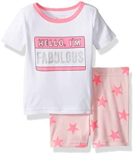 The Children's Place Baby-Girls Pajama Pants and Top Set, White, 6-9