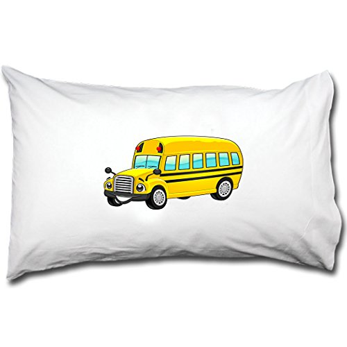 Style in Print School Bus Smiling Bed Pillow Case Single Pillowcase (Pillow School Bus)