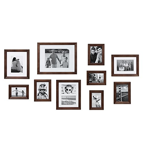 (Kate and Laurel Bordeaux Modern Gallery Wall Kit, Set of 10 with Assorted Size Frames with Dark Espresso)